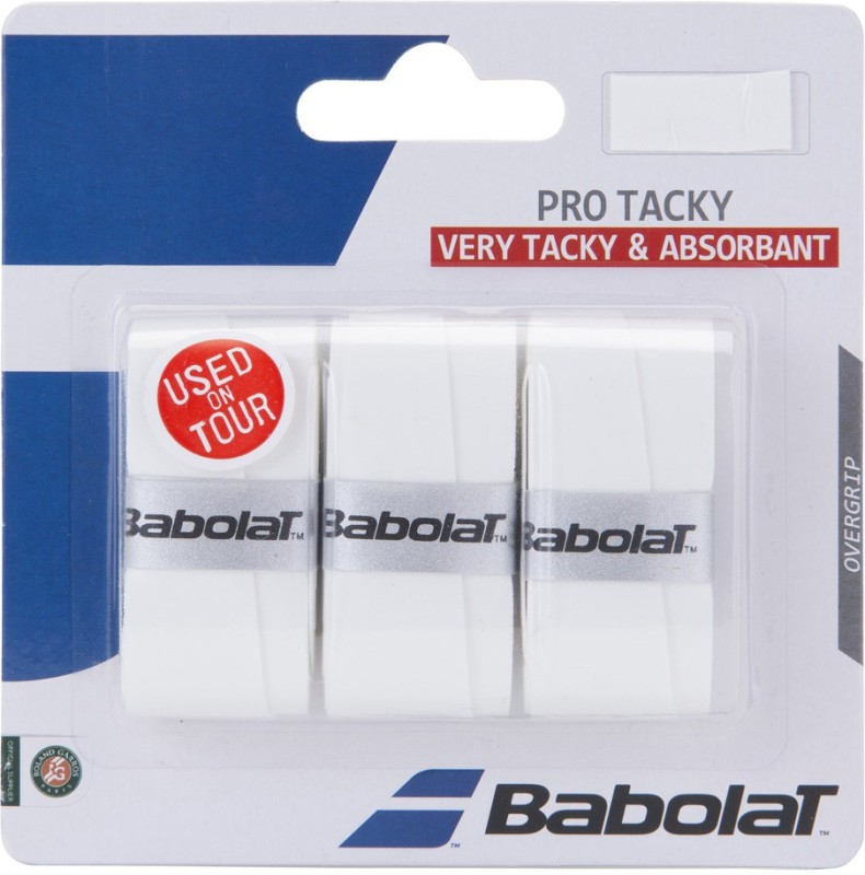 Babolat PRO TACKY x3 Tacky Touch(White, Pack of 3)