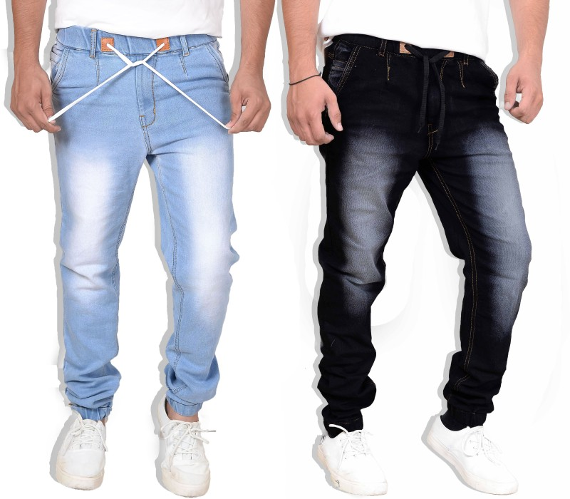 styzon Regular Men Black, Light Blue Jeans(Pack of 2)