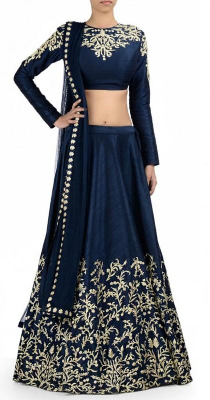 VAIDIKI Embellished Semi Stitched Lehenga, Choli and Dupatta Set(Blue)