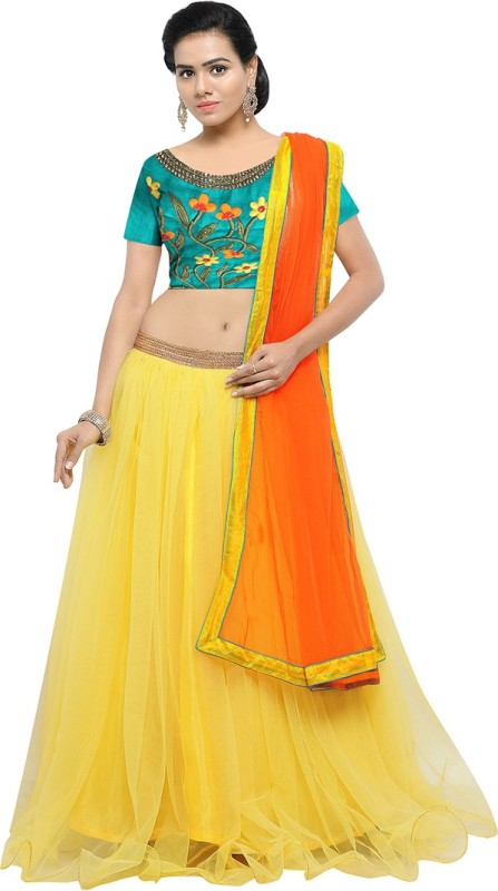 Styles Closet Embroidered Semi Stitched Lehenga, Choli and Dupatta Set(Yellow)
