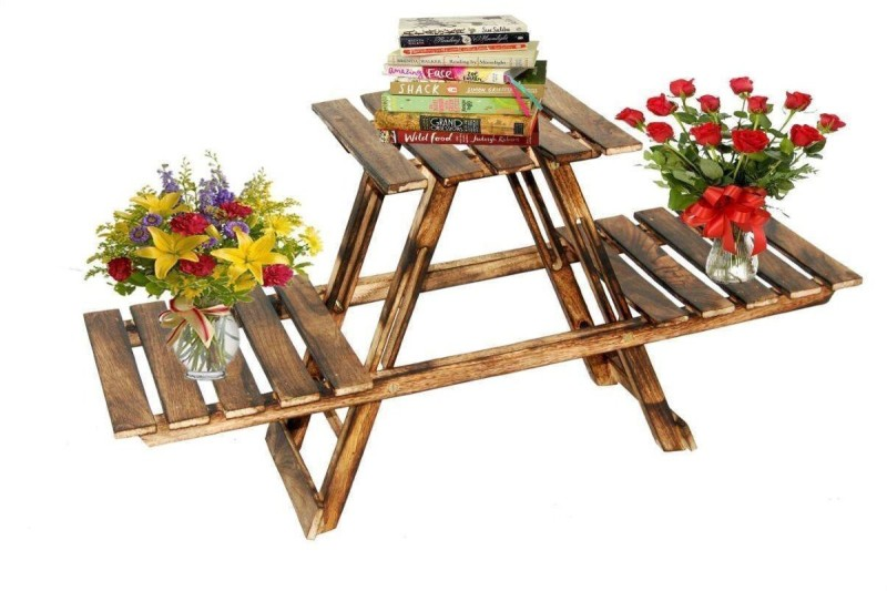 Ruby Perl Home Living Room Side Stand/ Wooden Stool / Flower Pot Stand Wooden Wall Shelf(Number of Shelves - 1, Brown)