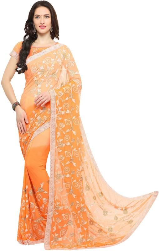 EthnicJunction Applique Lucknow Chikankari Chiffon Saree(Orange)