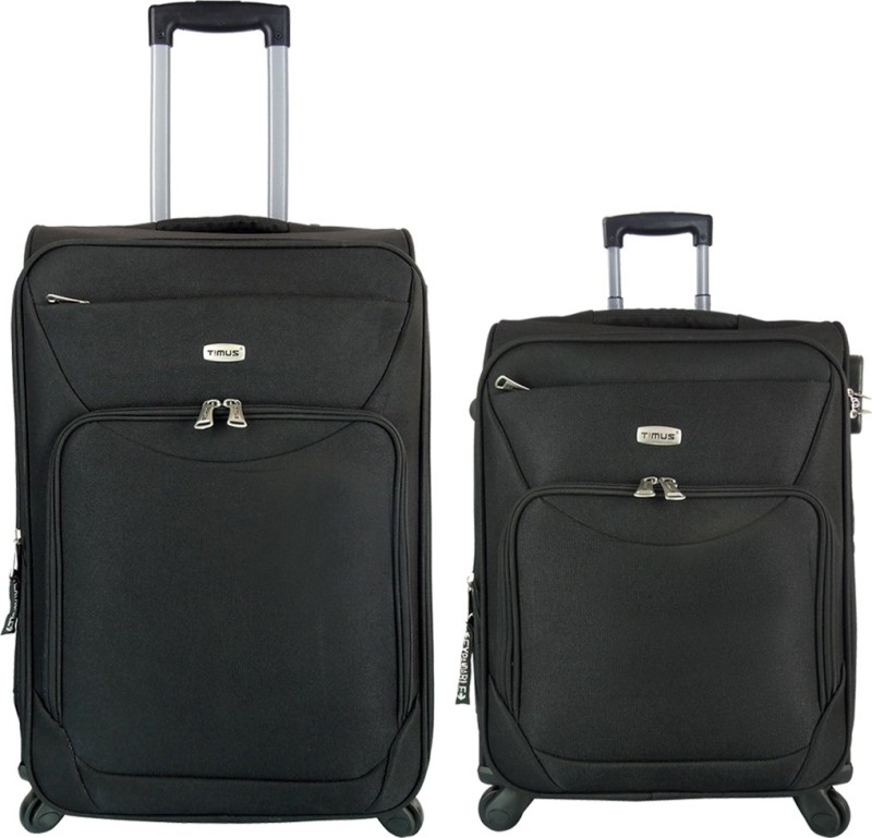 Timus Upbeat Spinner Black 55 & 65 cm 4 Wheel Strolley Suitcase For Travel SET OF 2 ( Medium Check-in Luggage) Expandable Check-in Luggage - 24 inch(Black)