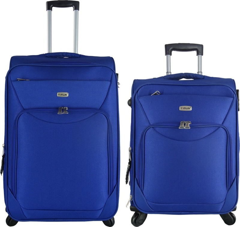 Timus Upbeat Spinner Blue 55 & 65 cm 4 Wheel Strolley Suitcase For Travel SET OF 2 ( Medium Check-in Luggage) Expandable Check-in Luggage - 24 inch(Blue)