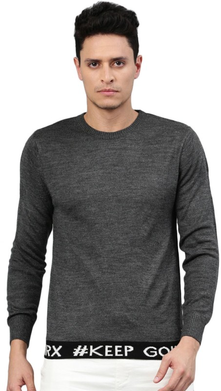 HRX by Hrithik Roshan Self Design Round Neck Casual Men Grey Sweater