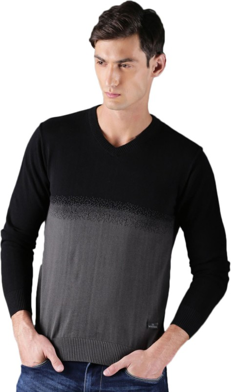 WROGN Self Design V-neck Casual Men Black, Grey Sweater