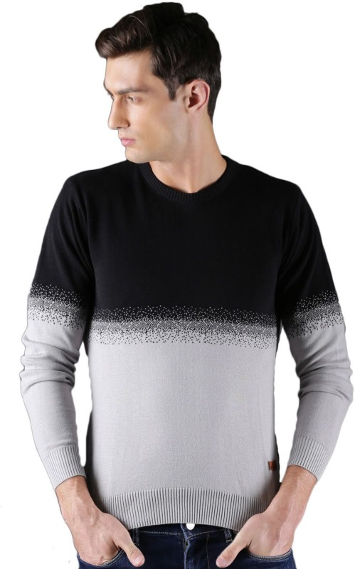 WROGN Self Design Round Neck Casual Men Black, Grey Sweater