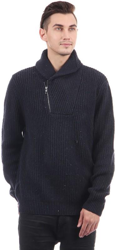 Nautica Solid Turtle Neck Casual Men Dark Blue Sweater