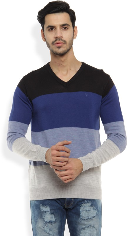 Allen Solly Solid V-neck Casual Mens Blue Sweater