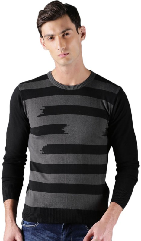 WROGN Striped Round Neck Casual Men Grey, Black Sweater