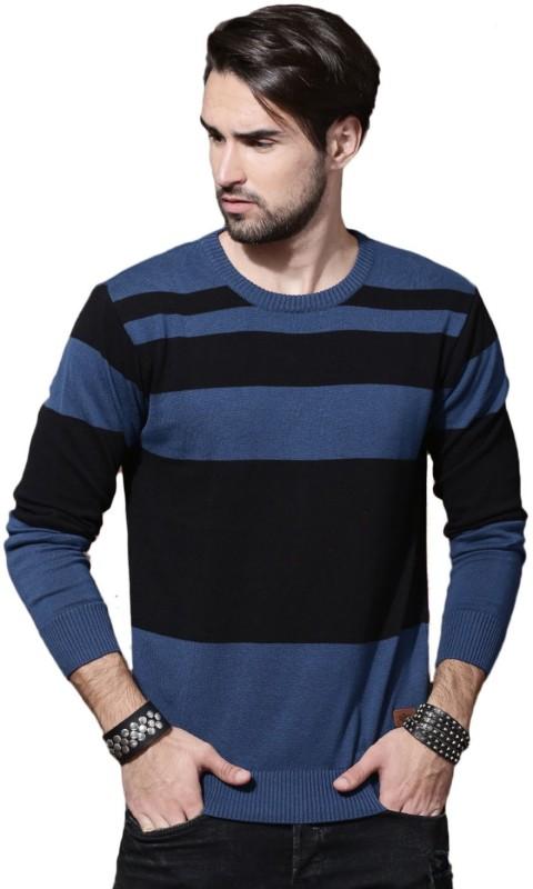 Roadster Striped Round Neck Casual Men Blue, Black Sweater