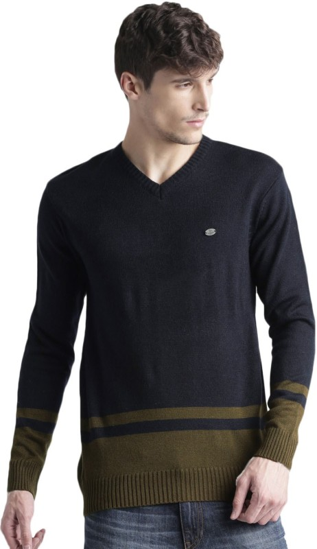 Roadster Solid V-neck Casual Men Dark Blue, Brown Sweater