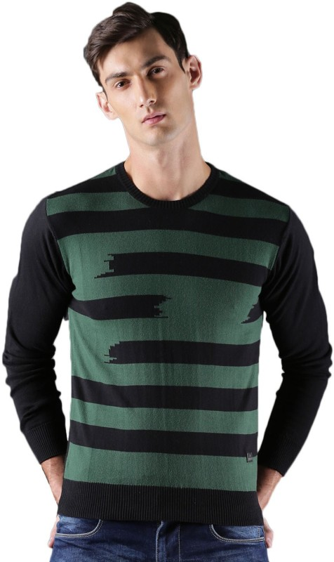 WROGN Striped Round Neck Casual Men Green, Black Sweater