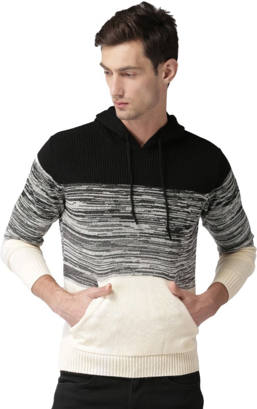 Mast & Harbour Self Design Round Neck Casual Men White, Black Sweater