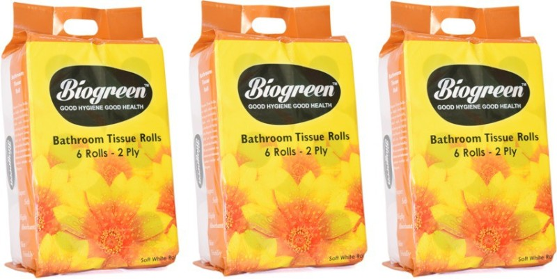 Biogreen Toilet Roll(Pack of 3) Toilet Paper Roll(2 Ply, 250 Sheets)