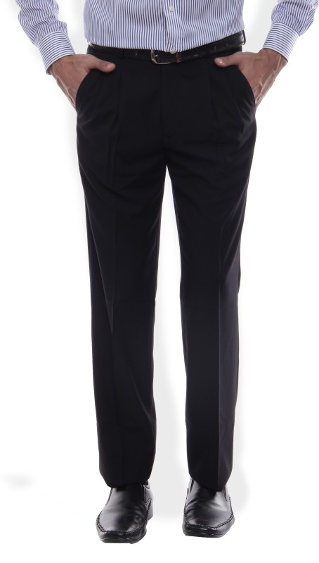 Louis Philippe Regular Fit Mens Black Trousers