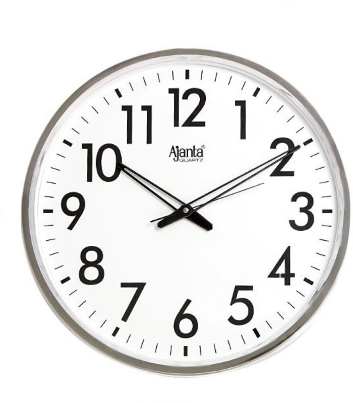 Ajanta Analog Wall Clock(White, With Glass)