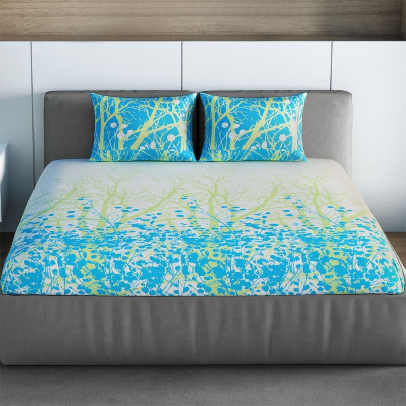 SPACES 144 TC Cotton Double Printed Bedsheet(1pcs Double Bedsheet with 2pcs Pillow Covers, Teal)