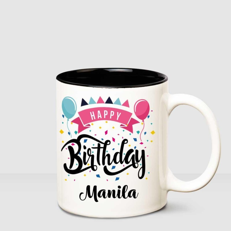Huppme Happy Birthday Manila Inner Black printed personalized coffee mug Ceramic Mug(350 ml)