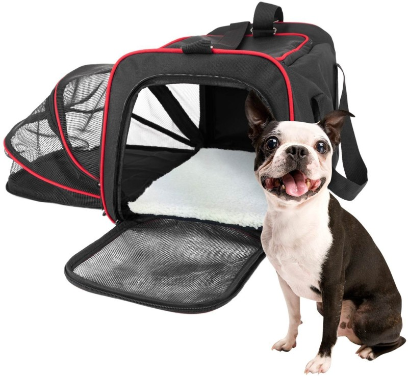 SRI High Quality Expandable Pet Carrier With Padded Fleece Insert. Airline Approved Spacious Comfortable Durable Soft Sided Carrier(Brown) Black Airline Pet Carrier(Suitable For Cat, Dog)