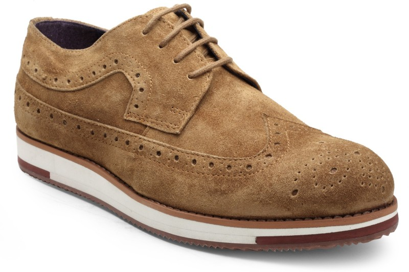 Hats Off Accessories Hats Off Accessories Brogue with Wedge Sole Brogues For Men(Tan)