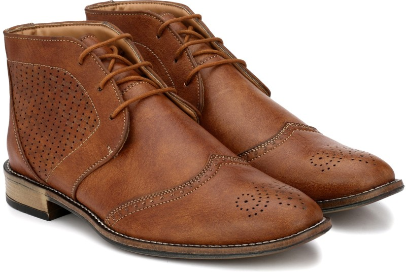 Prolific Perforated Boots For Men(Tan)