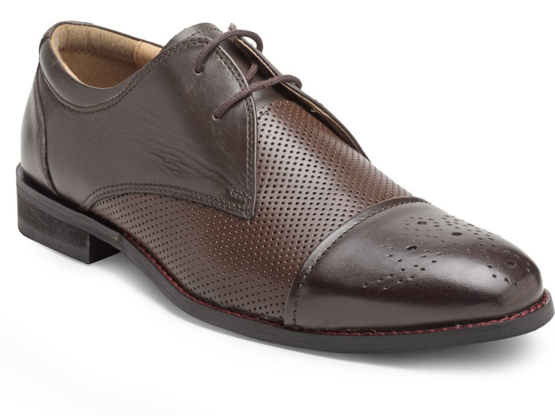 Hats Off Accessories Hats Off Accessories Derby with Brogue On Toe Brogues For Men(Brown)