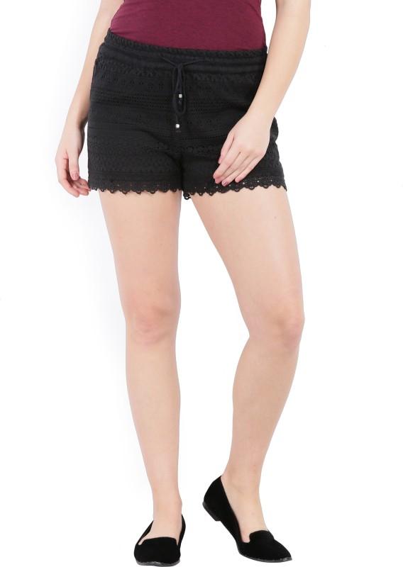 Vero Moda Self Design Women Black Basic Shorts
