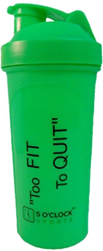 5 OClock Sports Classic Shaker Bottle - 600 ml- Sleek and Convenient Design 600 ml Shaker(Pack of 1, Green)
