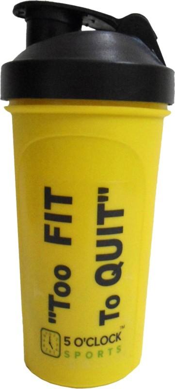 5 OClock Sports Yellow Mamba Classic Shaker Bottle - 600 ml- Sleek and Convenient Design 600 ml Shaker(Pack of 1, Yellow)