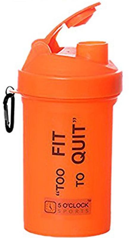 5 OClock Sports Fat Boy Shaker Bottle - 600 ml- Sleek and Convenient Design 600 ml Shaker(Pack of 1, Orange)