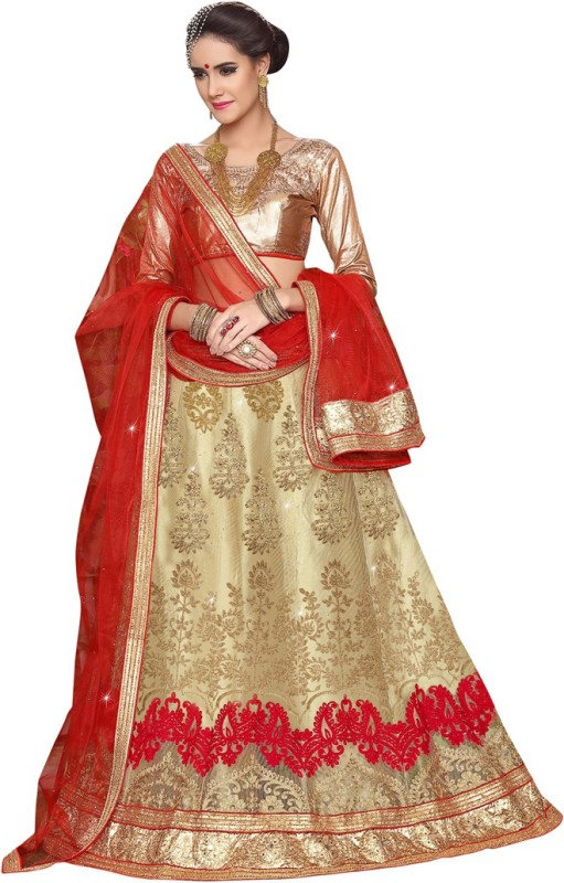 Manvaa Embroidered Semi Stitched Lehenga, Choli and Dupatta Set(Beige, Red)