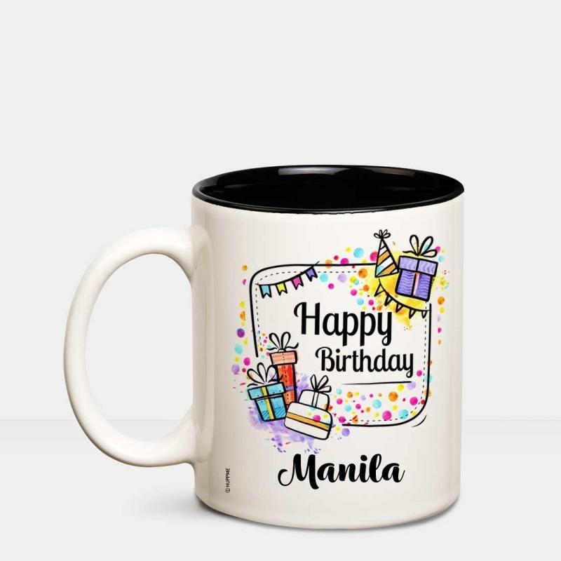 Huppme Happy Birthday Manila Inner Black coffee name mug Ceramic Mug(350 ml)