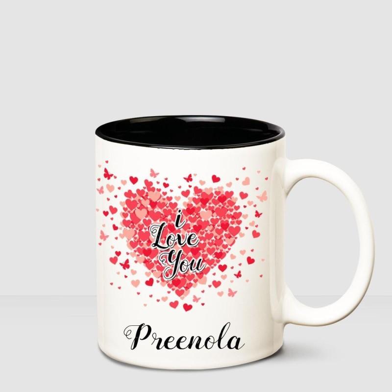 Huppme I love you Preenola Inner Black romantic coffee name mug Ceramic Mug(350 ml)
