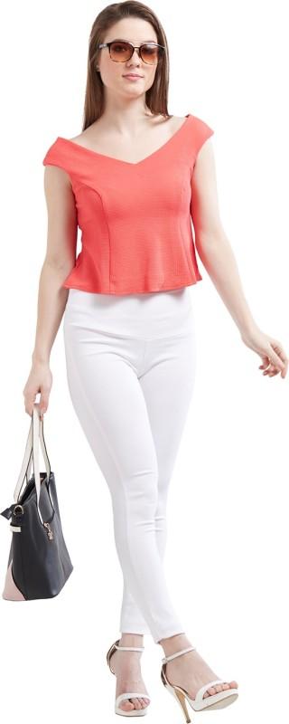 Pinwheel Women's Solid Casual Orange Shirt