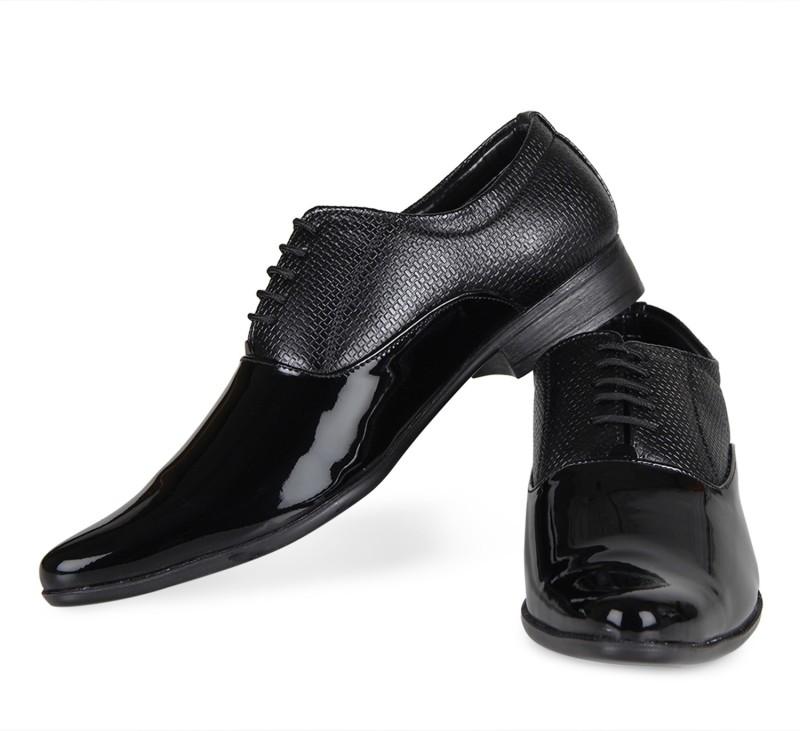 Zapatoz Black Patent Leather Formal Shoes Lace Up For Men(Black)