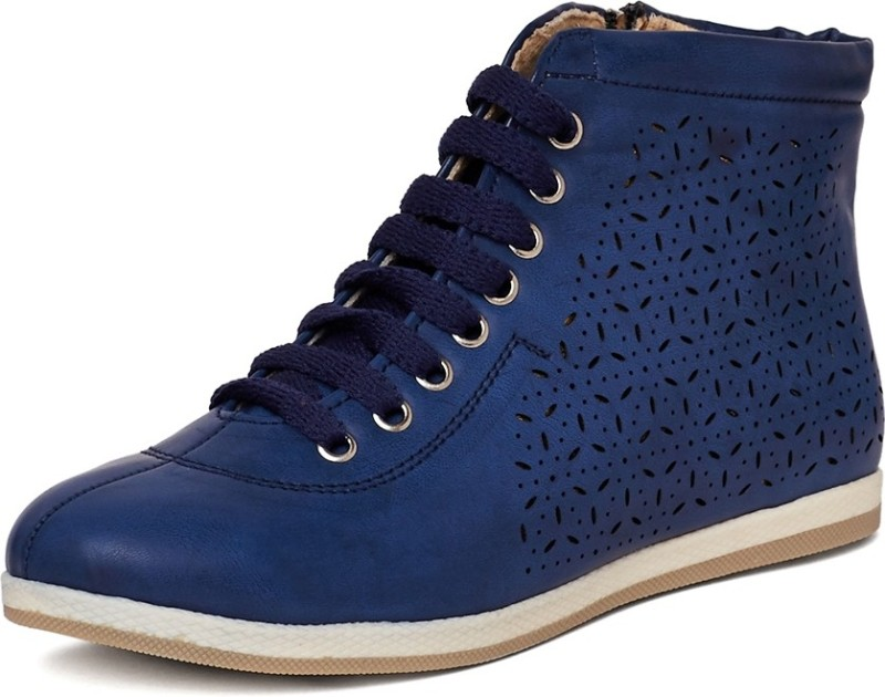 Marc Loire MarcLoire Womens Blue Laser Cuts Solid Round Toe Lace up Flat Boots Casual Shoes Boots For Women(Blue)