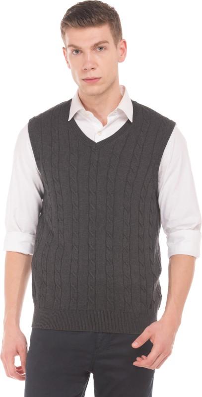 Nautica Woven V-neck Casual Mens Black Sweater
