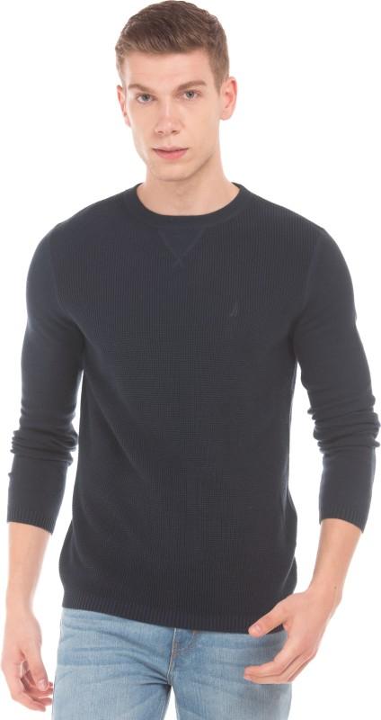 Nautica Solid Round Neck Casual Men Black Sweater