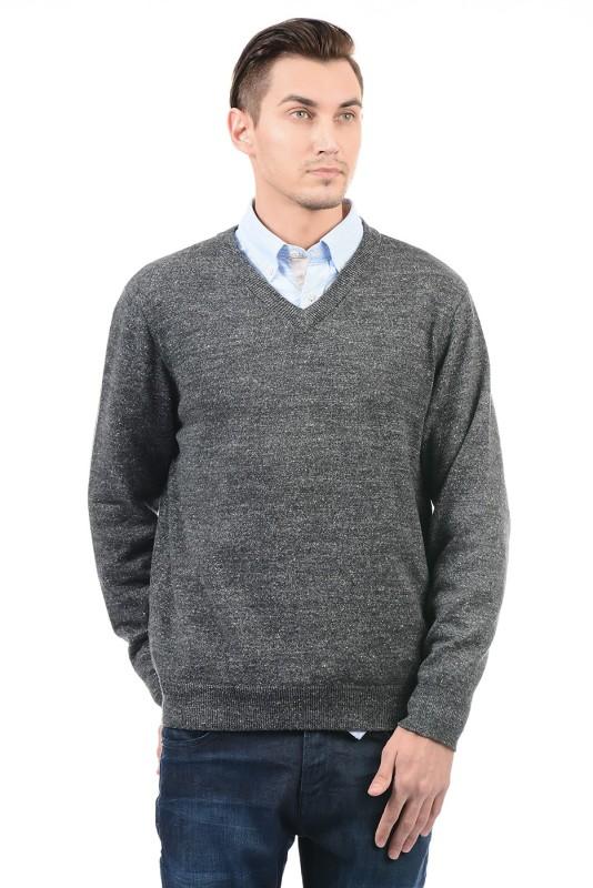 Nautica Solid V-neck Casual Men Grey Sweater