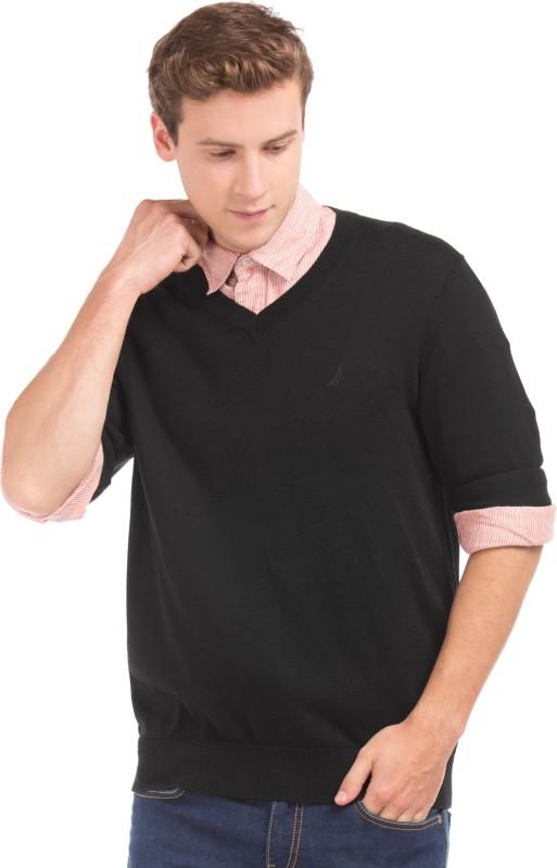 Nautica Solid V-neck Casual Men Black Sweater