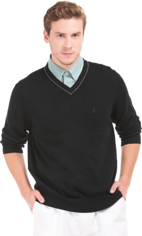 Nautica Solid V-neck Casual Mens Black Sweater