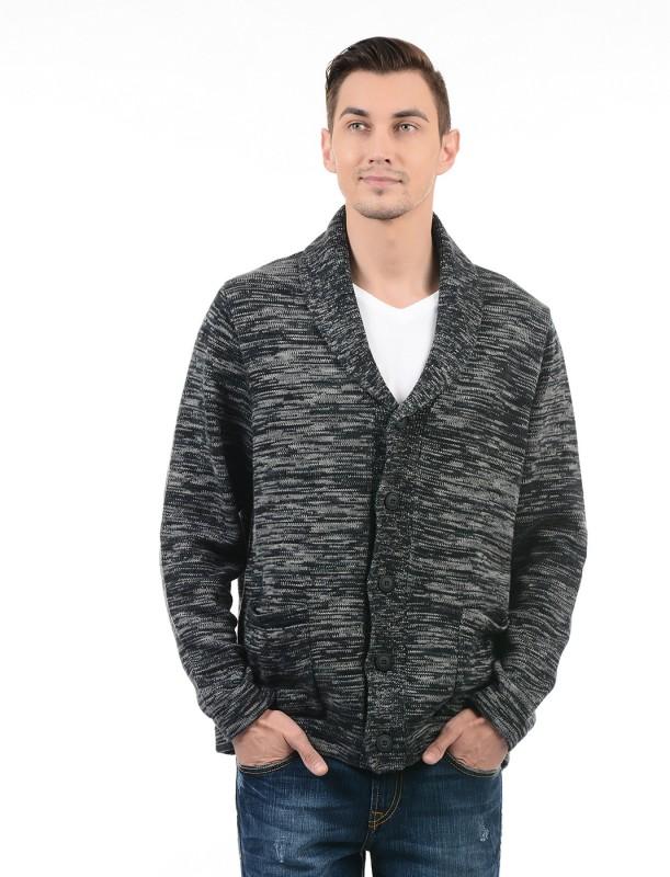 Nautica Woven V-neck Casual Men Black Sweater