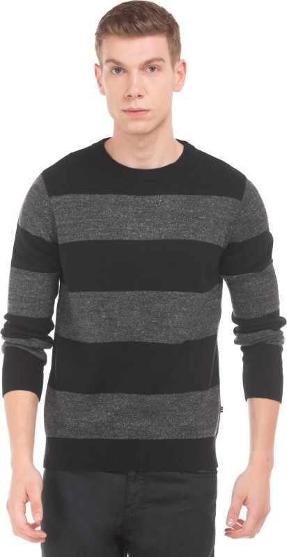 Nautica Striped Round Neck Casual Mens Black Sweater