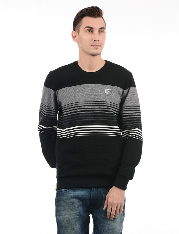 Monte Carlo Full Sleeve Striped Men Sweatshirt