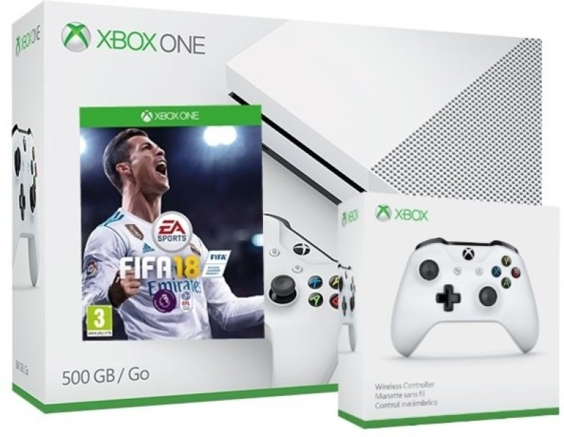 Microsoft Xbox S Console with Extra Controller 500GB GB with Fifa 18(White)