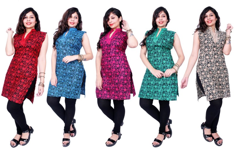 Thari choice Women Printed Straight Kurta(Multicolor)