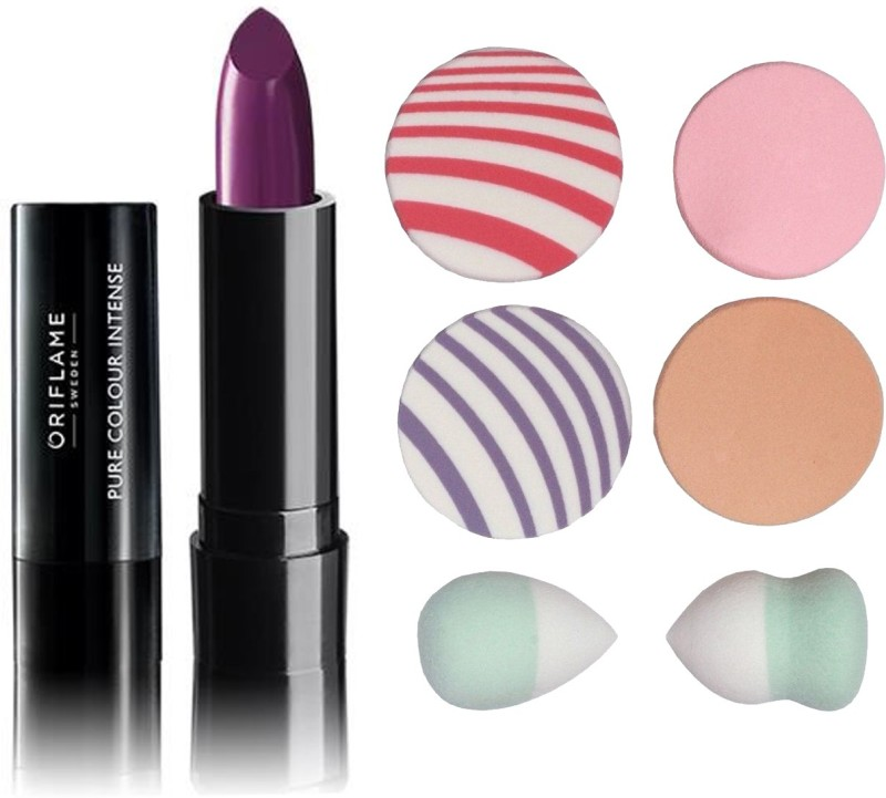 Oriflame Sweden Pure Colour Intense Lipstick (Pretty Purple - 30823) With Puff Sponge