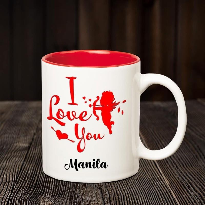 Chanakya I Love you Manila romantic inner red coffee name mug Ceramic Mug(350 ml)