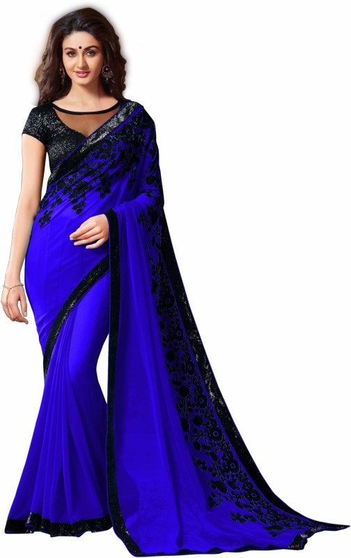 RadadiyaTRD Embroidered Bollywood Chiffon Saree(Blue)